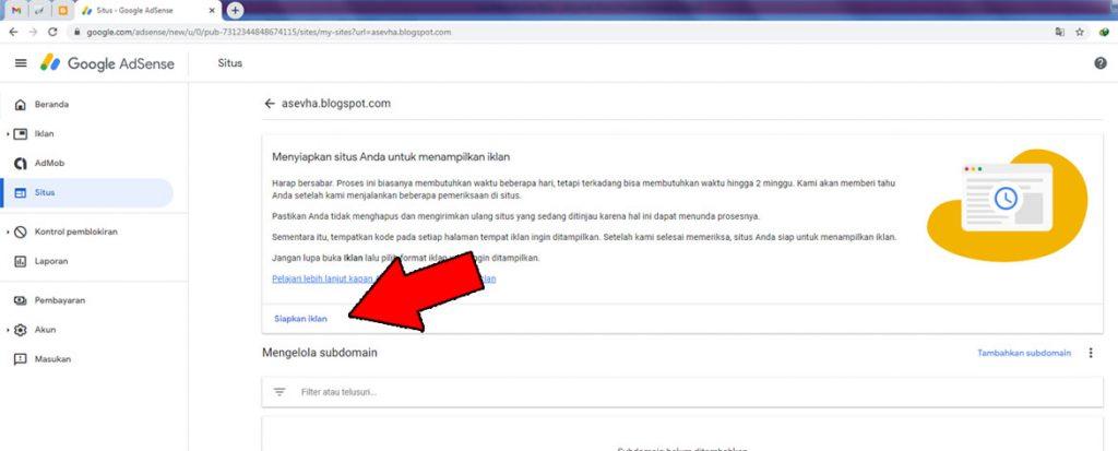 Menambahkan kode iklan situs di AdSense