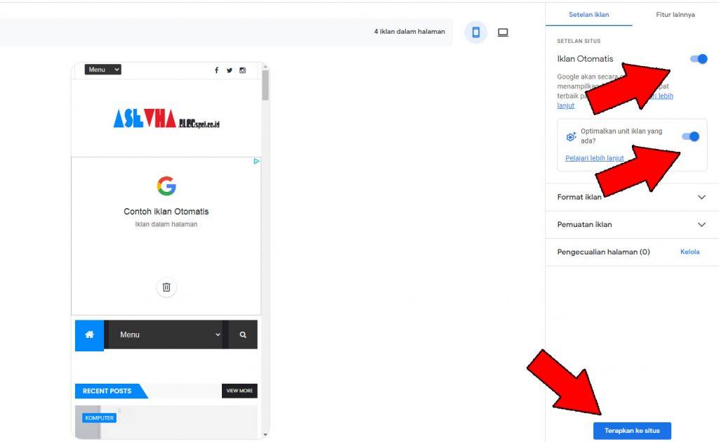 Menambahkan kode iklan otomatis di AdSense