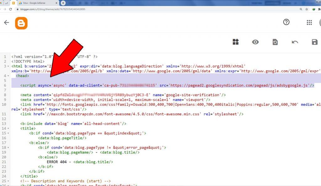 Insert script AdSense di blog