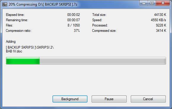 Kompress file dengan 7-zip