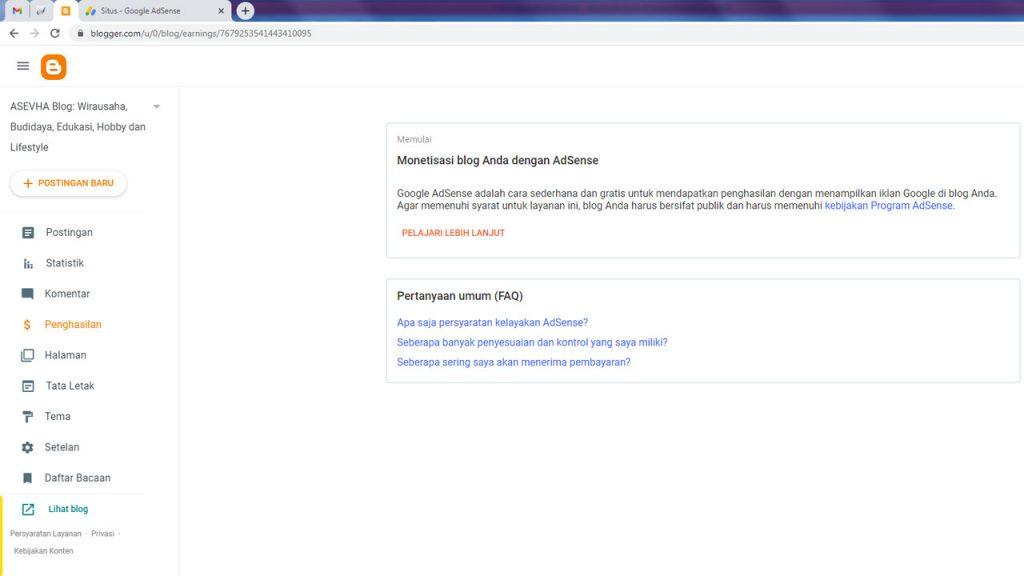 Tampilan menu penghasilan di dashboard Blogger