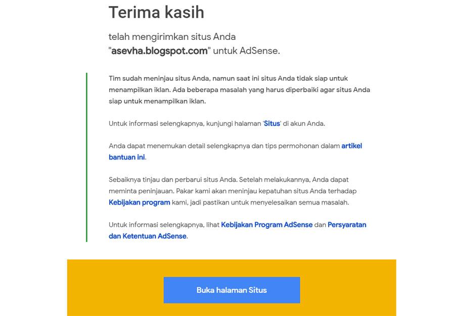 Email penolakan AdSense karena Low Value Content
